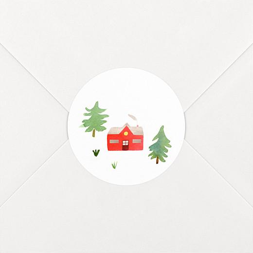 Stickers pour enveloppes vœux Forêt de sapins vert rouge - Vue 2