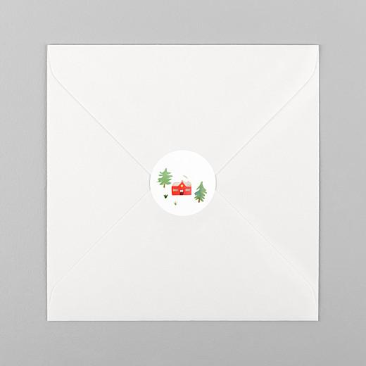 Stickers pour enveloppes vœux Forêt de sapins vert rouge - Vue 1