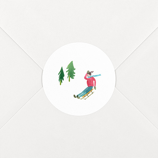 Stickers vœux Piste verte luge - Vue 2