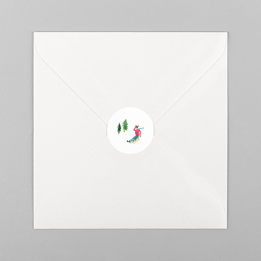 Stickers vœux Piste verte luge - Vue 1