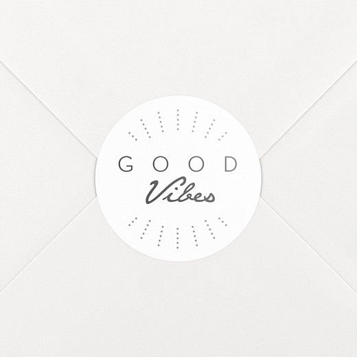 Stickers pour enveloppes vœux Good vibes blanc - Vue 2