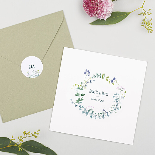 Stickers pour enveloppes mariage Bouquet sauvage blue - Gamme