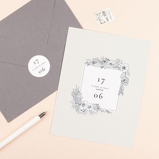 Stickers pour enveloppes mariage Esquisse fleurie blanc - Gamme