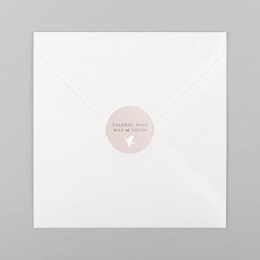 Stickers vœux Village d'hiver rose - Vue 1