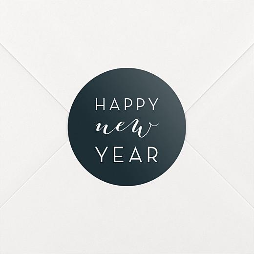Stickers pour enveloppes vœux Dans mon jardin d'hiver bleu noir - Vue 2