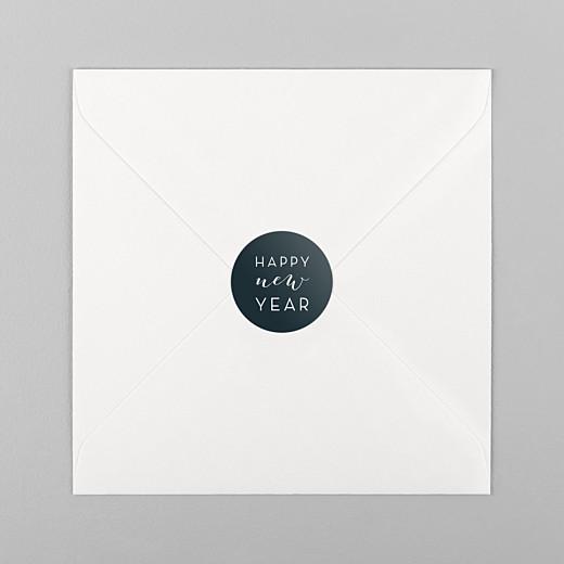 Stickers pour enveloppes vœux Dans mon jardin d'hiver bleu noir - Vue 1