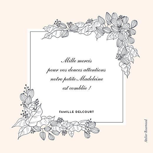 Carte de remerciement Petite esquisse fleurie rose - Page 2