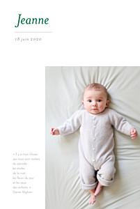 Faire-part de naissance épuré 4 photos blanc