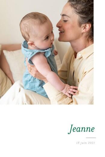 Faire-part de naissance Épuré 2 photos blanc