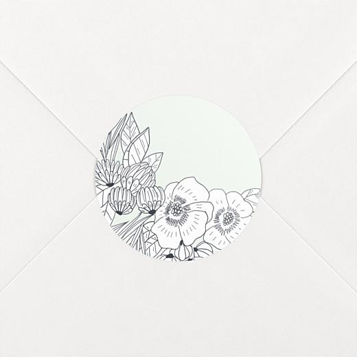Stickers pour enveloppes naissance Esquisse fleurie vert - Vue 2