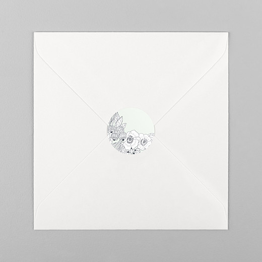 Stickers pour enveloppes naissance Esquisse fleurie vert - Vue 1