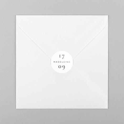 Stickers pour enveloppes naissance Esquisse fleurie blanc - Vue 1
