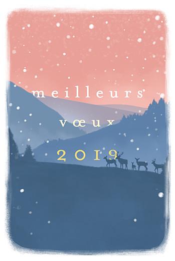 Carte de voeux Matin d'hiver bleu & rose