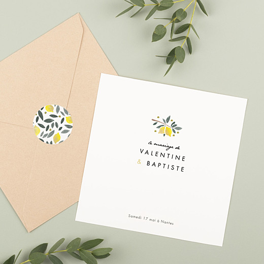 Stickers pour enveloppes mariage Palermo jaune et blanc - Gamme