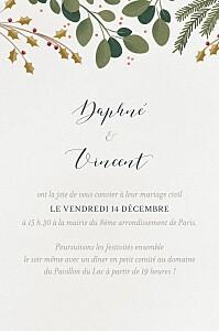 Carton d'invitation mariage classique daphné portrait hiver