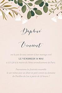 Carton d'invitation mariage classique daphné portrait printemps