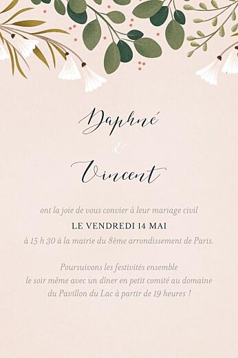 Carton d'invitation mariage Daphné portrait printemps