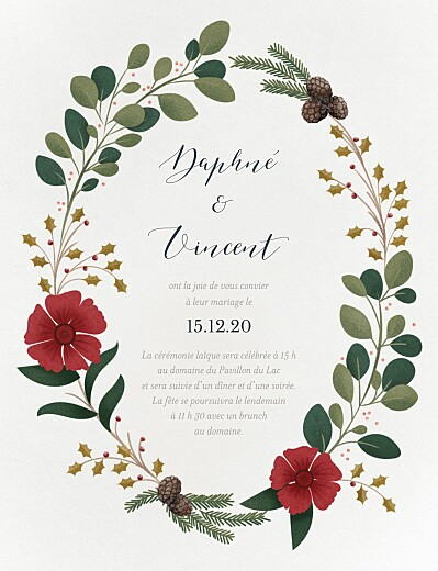 Faire-part de mariage Daphné hiver