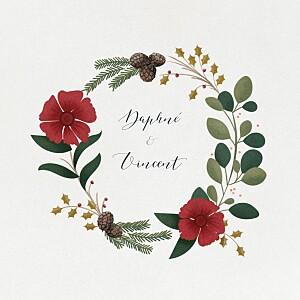 Faire-part de mariage beige daphné (4 pages) hiver
