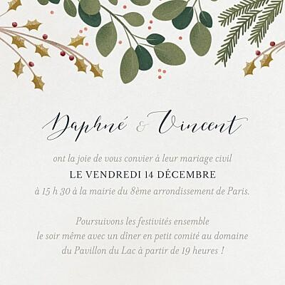 Carton d'invitation mariage Daphné hiver finition