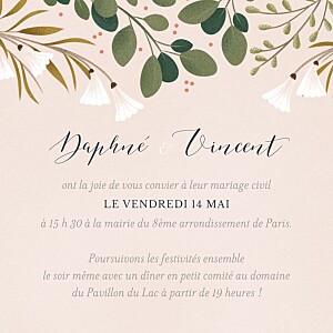Carton d'invitation mariage rose daphné printemps