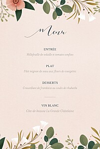 Menu de mariage rose daphné printemps