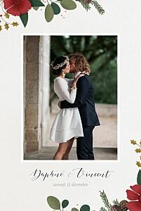 Carte de remerciement mariage beige daphné hiver