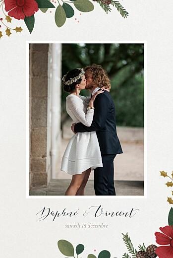Carte de remerciement mariage Daphné hiver