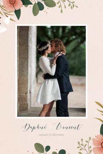 Carte de remerciement mariage Daphné printemps