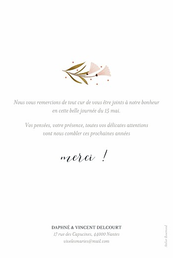 Carte de remerciement mariage Daphné printemps - Page 2