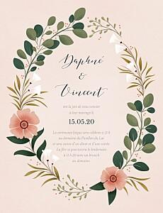 Faire-part de mariage rose daphné printemps