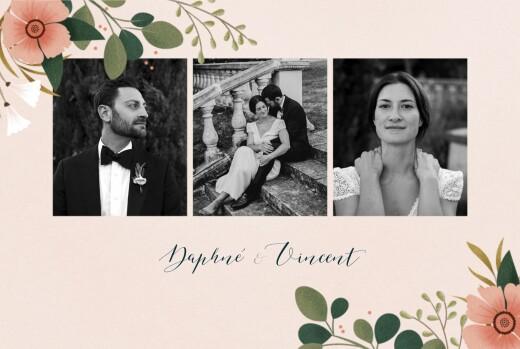 Carte de remerciement mariage Daphné (4 pages) printemps