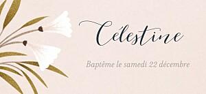 Etiquette de baptême rose daphné printemps