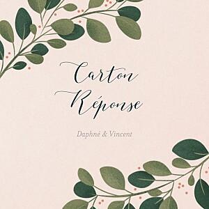 Carton réponse mariage rose daphné printemps