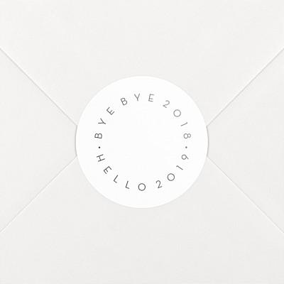 Stickers vœux hello goodbye blanc