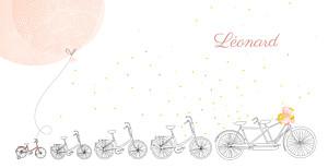 Faire-part de naissance jouets à bicyclette (4 enfants) corail