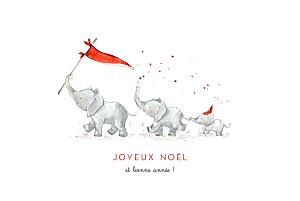 Carte de voeux cartes de noël le noël des 3 éléphants blanc
