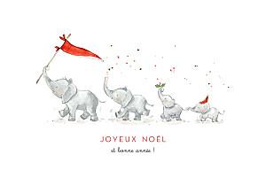 Carte de voeux rouge le noël des 4 éléphants blanc