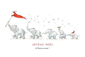Carte de voeux cartes de noël le noël des 5 éléphants blanc
