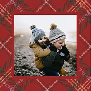 Carte de voeux solidaire tissu écossais rouge