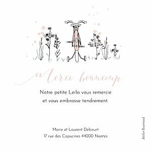 Carte de remerciement fleur petit vélo en balade rose