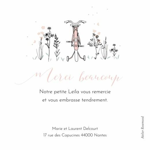 Carte de remerciement Petit vélo en balade rose