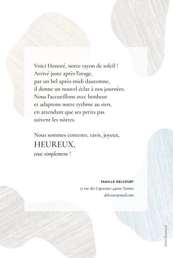 Faire-part de naissance Galet bleu - Page 2