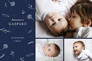 Faire-part de naissance dorure élégant feuillage 3 photos bleu nuit