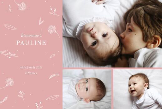Faire-part de naissance Élégant feuillage 3 photos rose