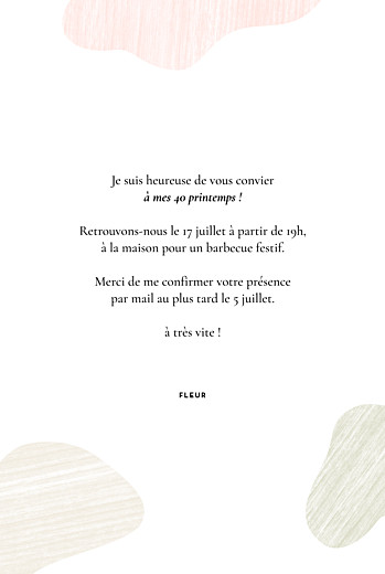 Carte d'invitation anniversaire adulte Galet rose - Page 3