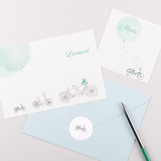 Stickers pour enveloppes naissance À bicyclette vert - Gamme