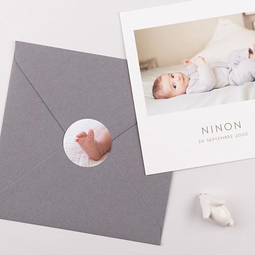 Stickers pour enveloppes naissance Photo blanc - Gamme