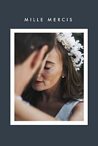 Carte de remerciement mariage tous genres corner (dorure) bleu