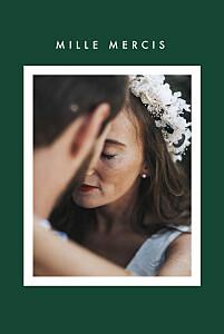 Carte de remerciement mariage vert corner (dorure) vert